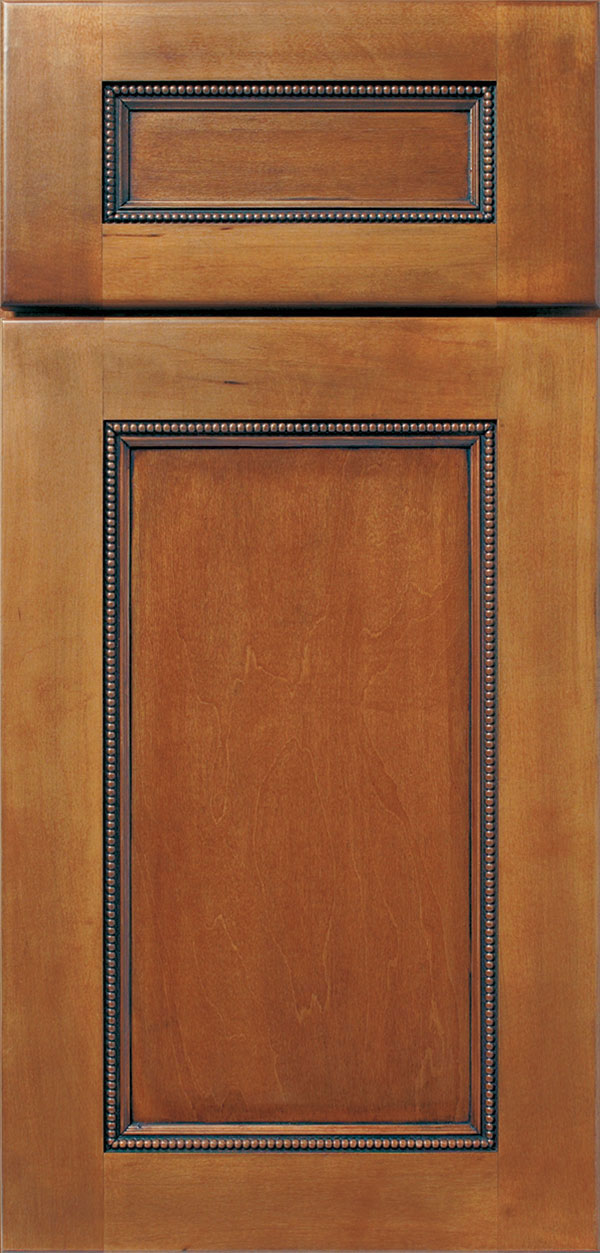 Brentwood 5-piece maple cabinet door in ginger with onyx glaze