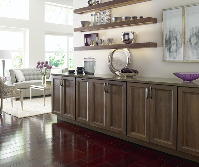 Casual Walnut Cabinets In Riverbed Finish