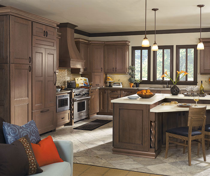 Laroche kitchen with Cherry cabinets in Riverbed finish