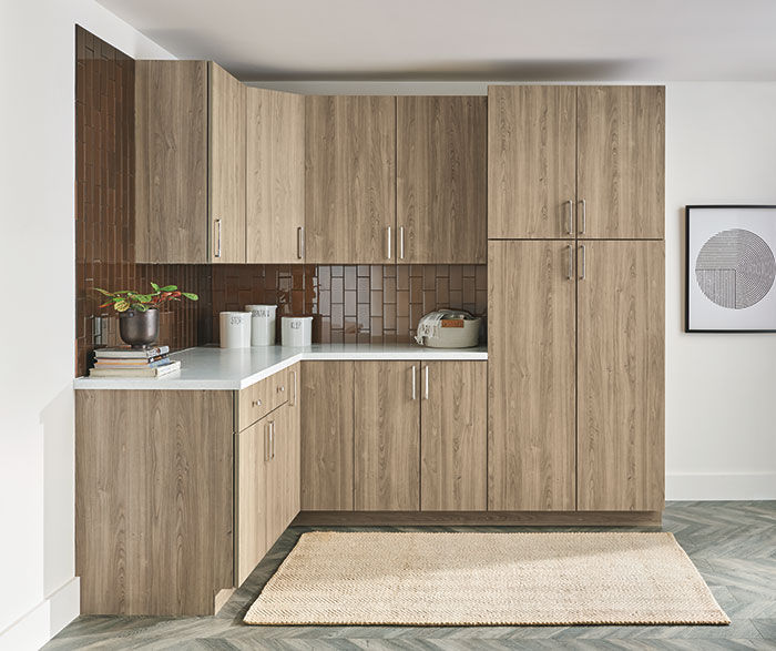 Modern Textured Laminate Contemporary Butler Pantry