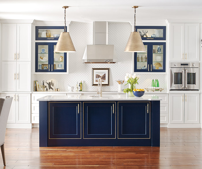 White Kitchen With A Custom Blue Kitchen Island ...