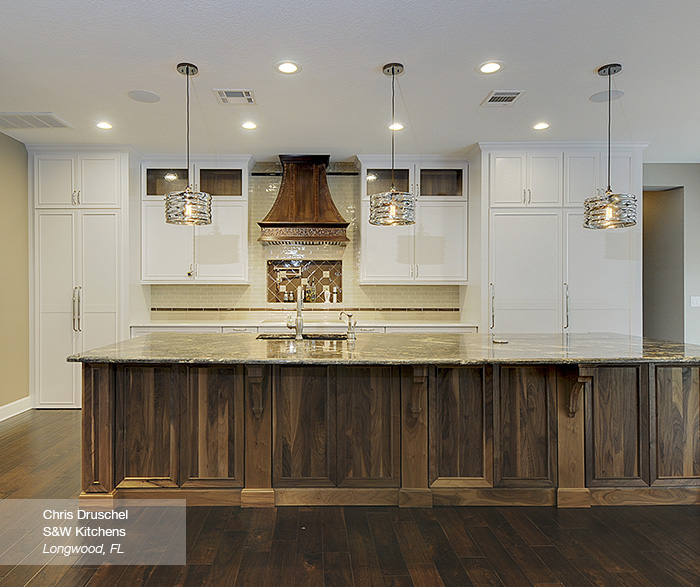 White Cabinets with a Walnut Kitchen Island
