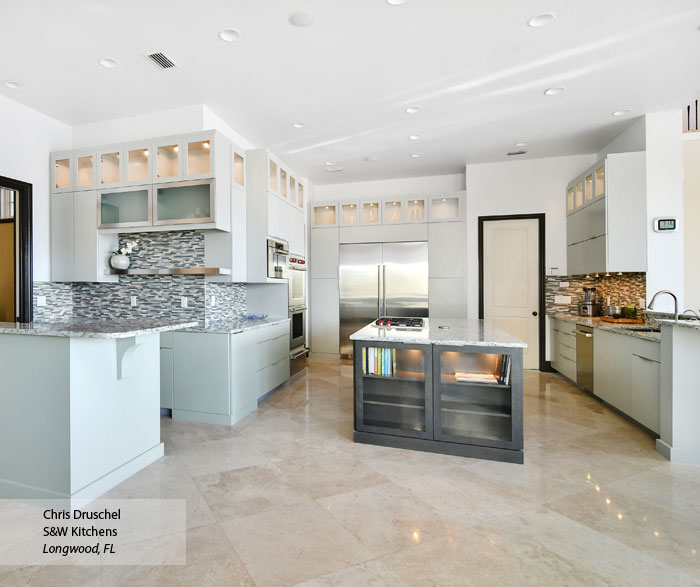 Modern Vail kitchen cabinets in Maple Dove and Smokey Hills finishes