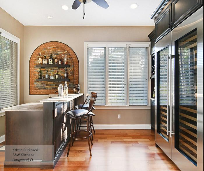 Anson home bar cabinets in Kodiak with Onyx glaze on Alder