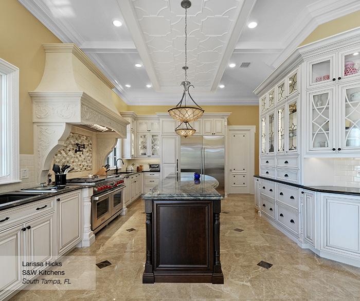 Artesia kitchen cabinets in maple pearl with island in cherry pesto