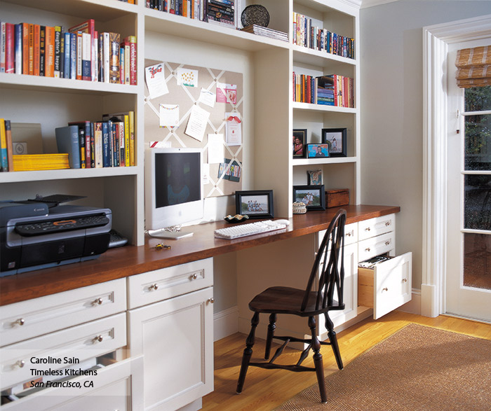 Brentwood off white home office cabinets in Maple Oyster finish