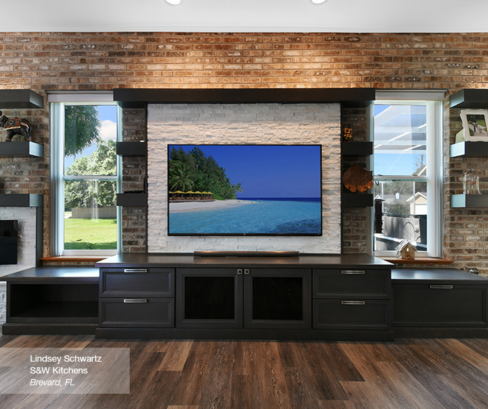 Cayhill family room cabinets in oak smokey hills