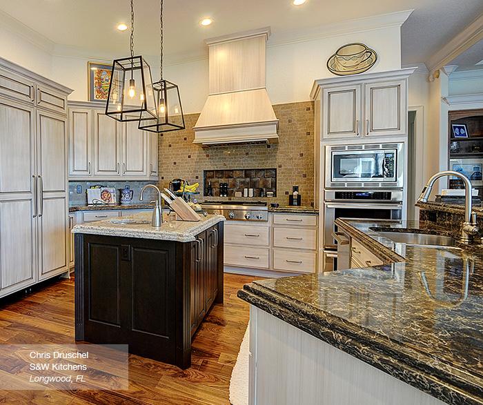 Danville kitchen cabinets in maple pearl with island in alder truffle