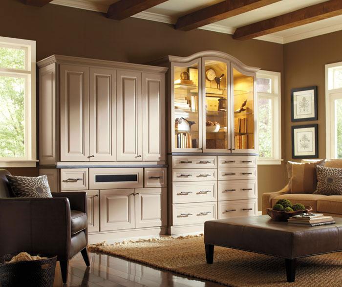 Hollibrune living room storage cabinets in Maple Portobello finish