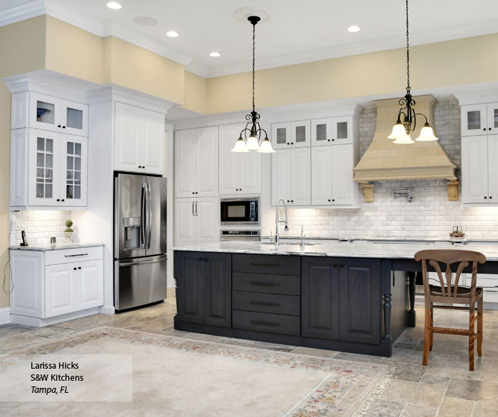 Traditional kitchen with white cabinets and a gray kitchen island