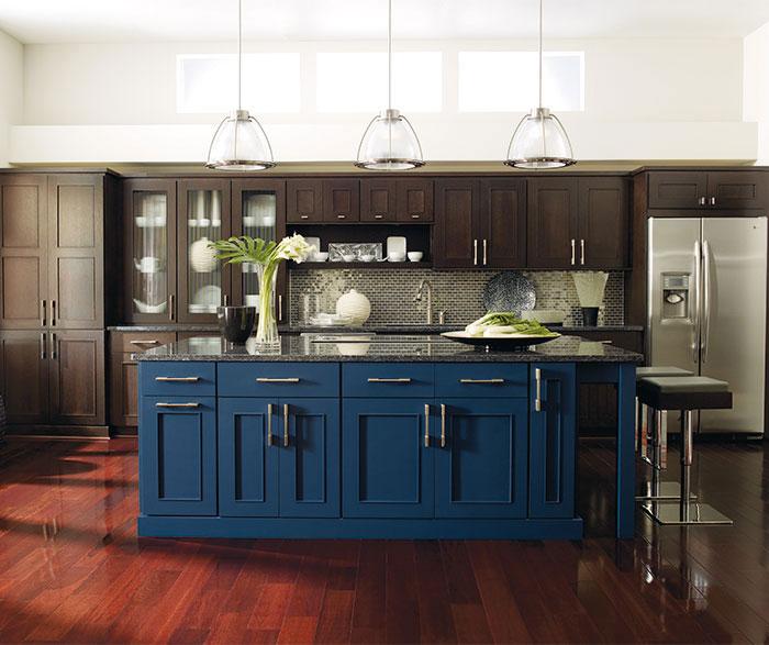 Dark wood Metro cabinets in Truffle finish with a Blue Lagoon kitchen island