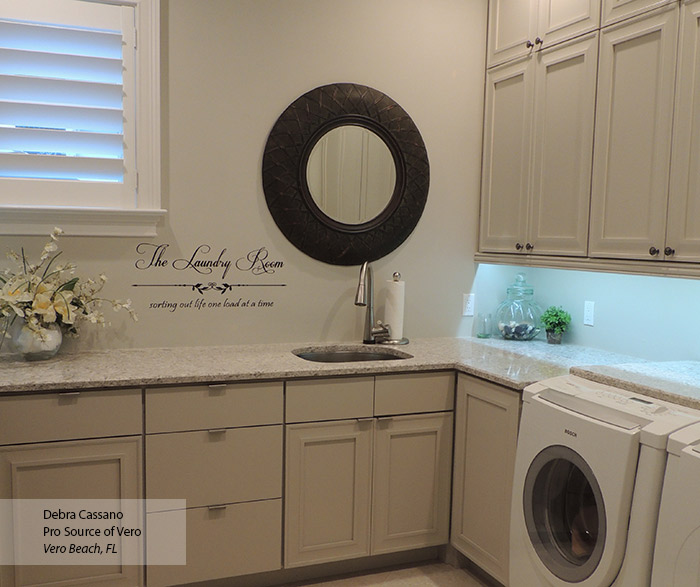 Perin laundry room storage cabinets in Maple Magnolia finish