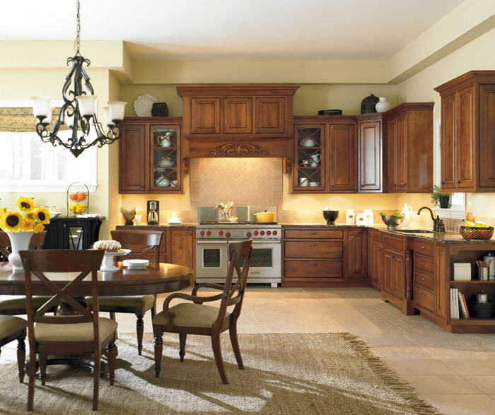 Portage inset kitchen cabinets in Cherry Nutmeg Onyx finish