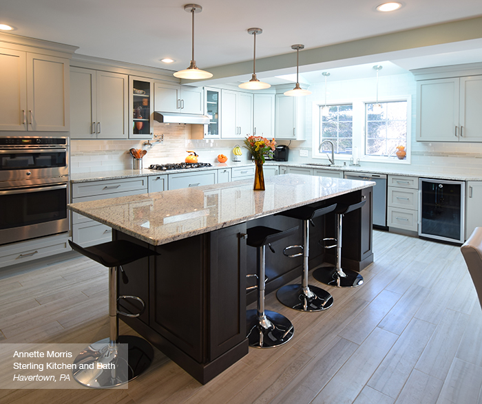 Puritan maple kitchen cabinets in dove and smokey hills
