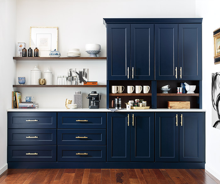 Butler's pantry with custom blue cabinets in the Renner door style