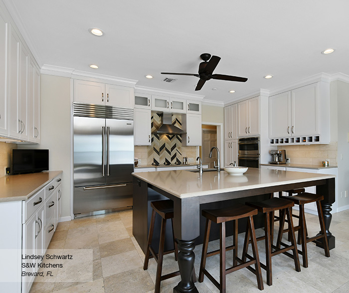 Renner shaker cabinets in maple pearl with island in alder truffle