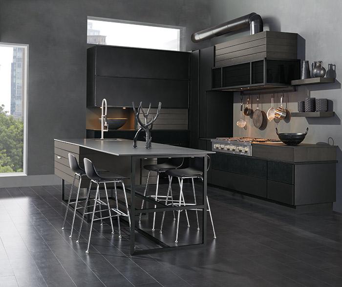 Modern Tarin kitchen with Walnut cabinets in Smokey Hills