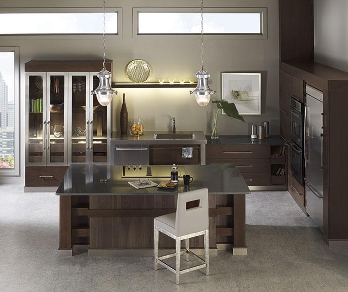 Tarin Walnut kitchen cabinets in Riverbed and Kodiak finishes