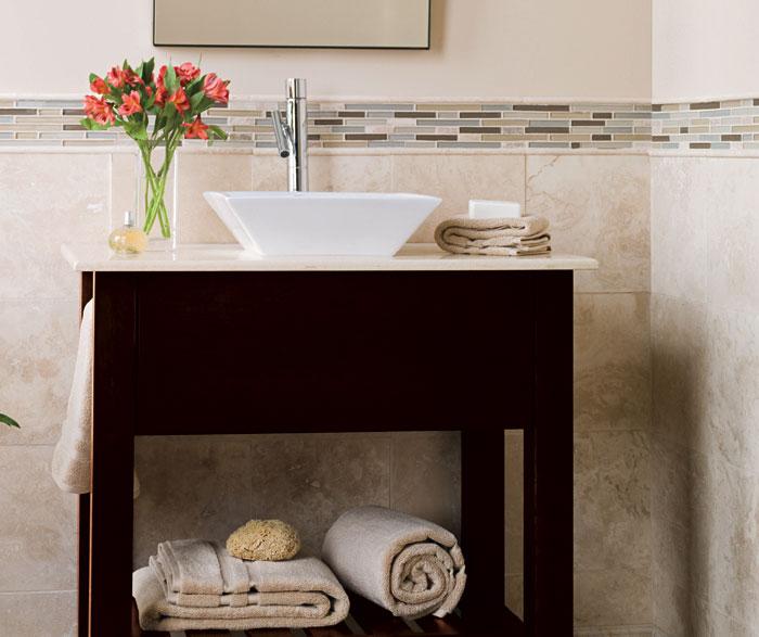 Contemporary bathroom vanity in dark Cherry