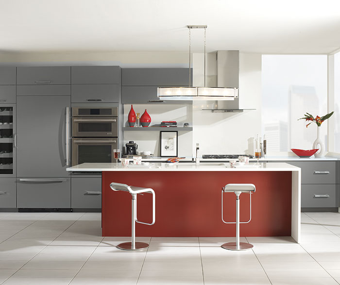 Vail Battleship Gray cabinets with a custom red kitchen island