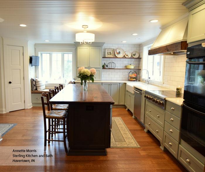Williamsburg farmhouse kitchen cabinets in Maple Rain and Cherry Smokey Hills finishes