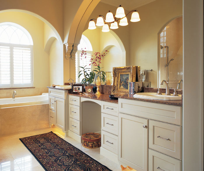 Pearl white bathroom cabinets